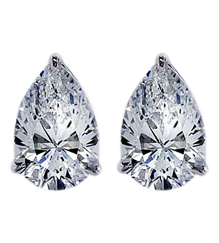 CARAT LONDON Pear 0.75ct solitaire stud earrings (White