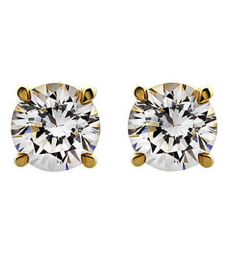 CARAT LONDON Round 0.5ct solitaire stud earrings (Yellow