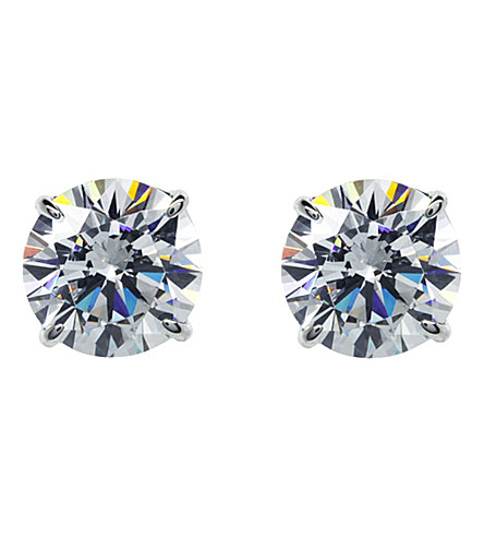 CARAT LONDON Round 1ct solitaire stud earrings (White