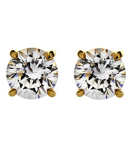 CARAT LONDON Round 1ct solitaire stud earrings (Yellow