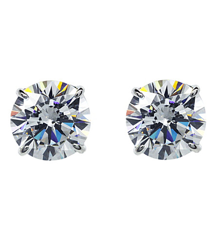 CARAT LONDON Round 2ct solitaire stud earrings (White