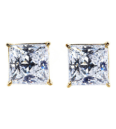 CARAT LONDON Princess 0.5ct solitaire stud earrings (Yellow