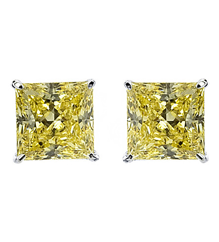 CARAT LONDON Yellow 1ct Princess solitaire stud earrings (Yellow