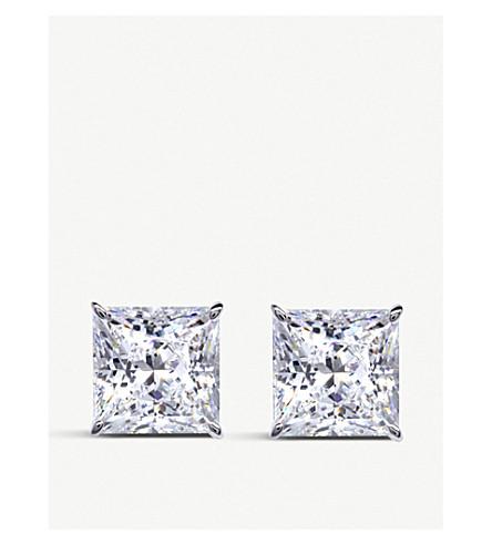 CARAT LONDON 公主9c 白金和宝石螺柱耳环 (9kwg