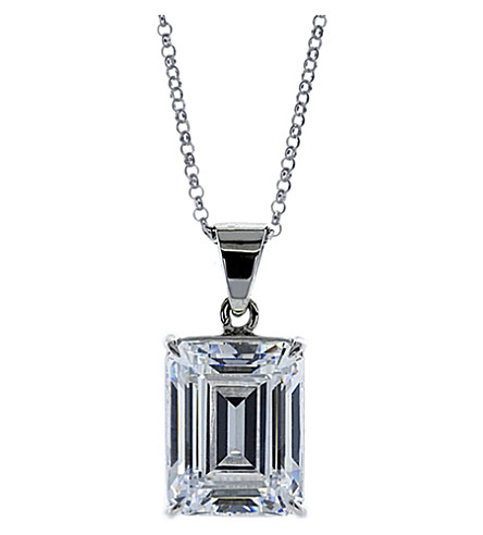 CARAT LONDON Emerald 1.5ct solitaire pendant necklace (White