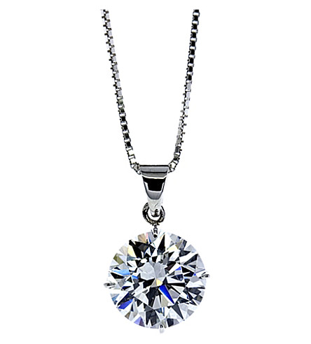 CARAT LONDON Round 4 Prongs 1ct solitaire pendant necklace (White