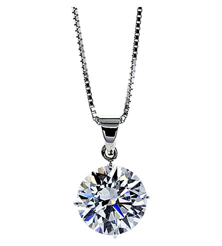 CARAT LONDON Round 4 Prongs 2ct solitaire pendant necklace (White