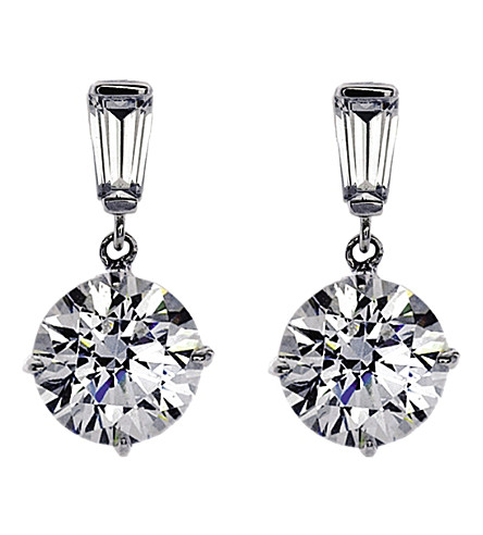 CARAT LONDON Baguette 2ct round drop earrings (White