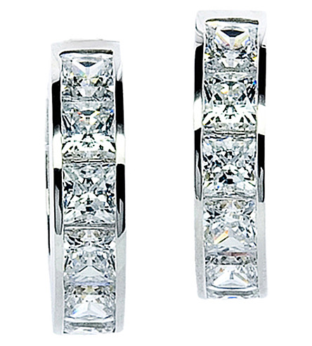 CARAT LONDON Princess Channel 9ct white gold 1.5ct solitaire hoops