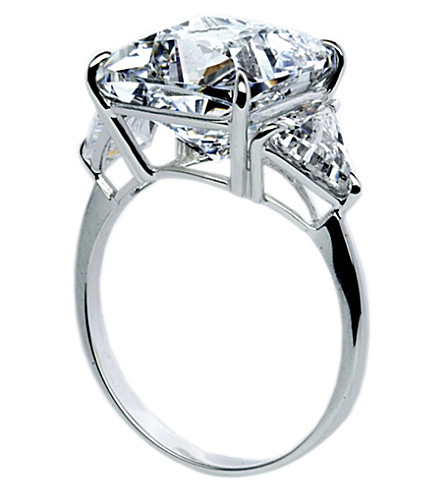 CARAT LONDON Cushion 6.5ct Trilogy cocktail ring (White