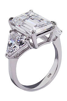 CARAT Emerald cut 7ct trilogy cocktail ring