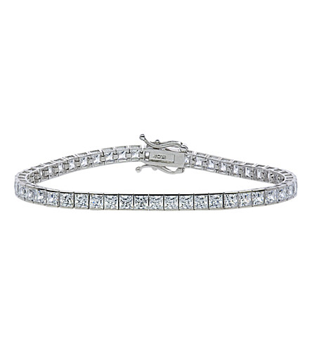 CARAT LONDON 13.25ct Princess Tennis bracelet (White