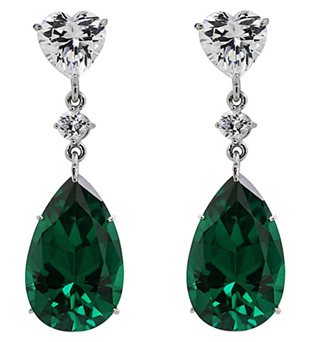CARAT LONDON Emerald green pear drop earrings (Green