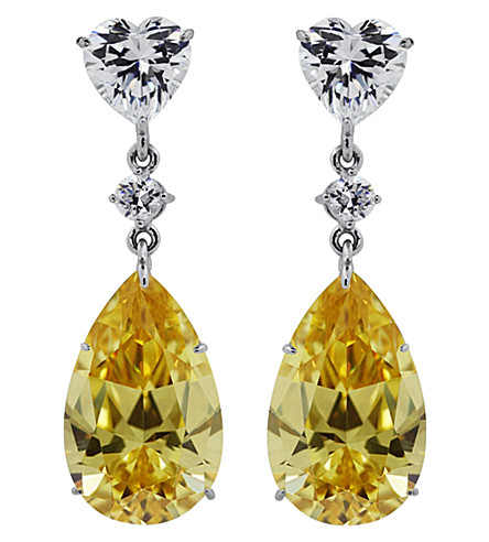 CARAT LONDON Canary yellow pear drop earrings (Yellow