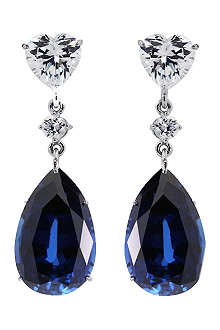CARAT 2ct sapphire pear drop earrings