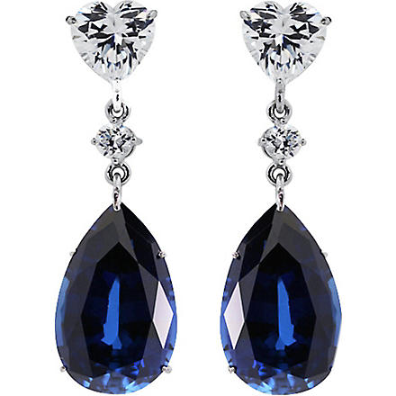 CARAT 2ct sapphire pear drop earrings (Blue