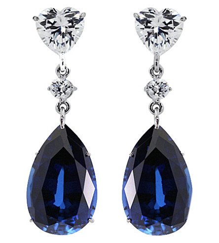 CARAT LONDON Sapphire 5.5ct pear drop earrings (Blue