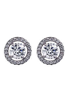 CARAT Classic border set diamond white earrings