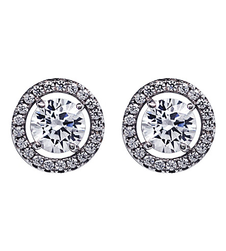 CARAT LONDON Round 0.5ct Borderset stud earrings (White