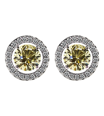 CARAT LONDON Round 0.5ct Yellow Borderset stud earrings (Yellow