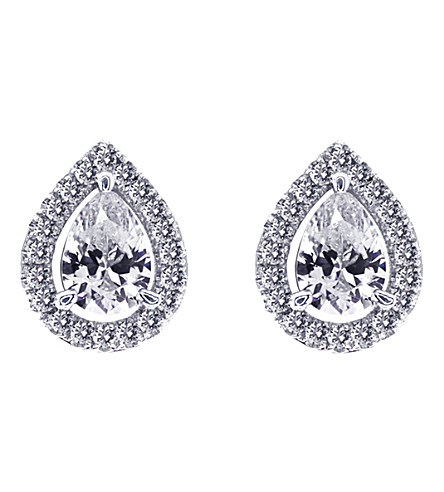 CARAT LONDON Pear 1.25ct Borderset stud earrings (White