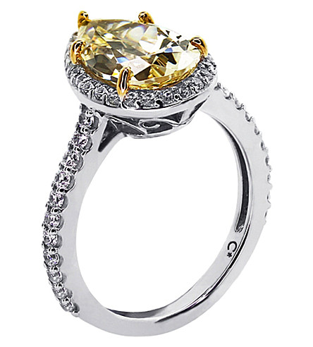 CARAT LONDON Pear 3ct canary yellow borderset ring (Yellow