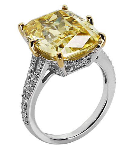 CARAT LONDON Grand Emerald 8ct cocktail ring (Yellow