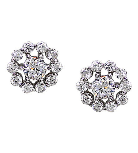 CARAT LONDON Flora white gold stud earrings