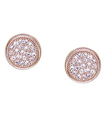 CARAT LONDON Rose gold-vermeil and pavé stud earrings