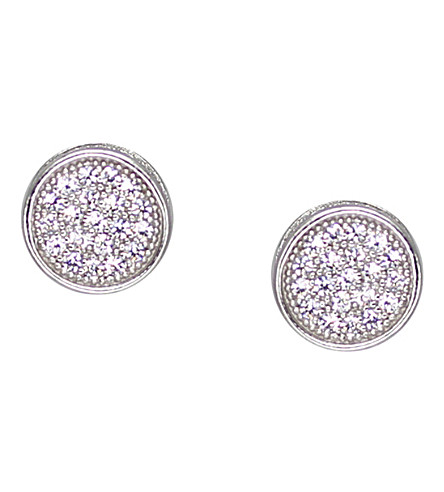 CARAT LONDON White gold sterling silver stud earrings