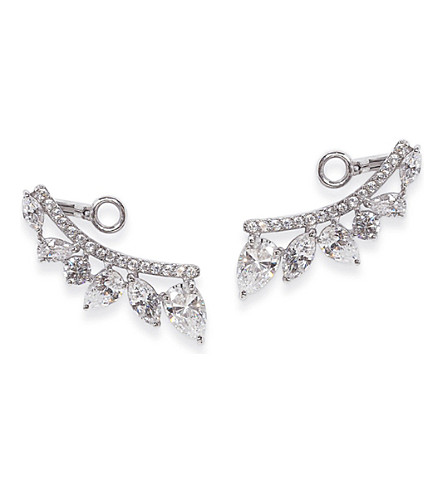 CARAT LONDON Tellus white-gold plated sterling silver earrings (Silver