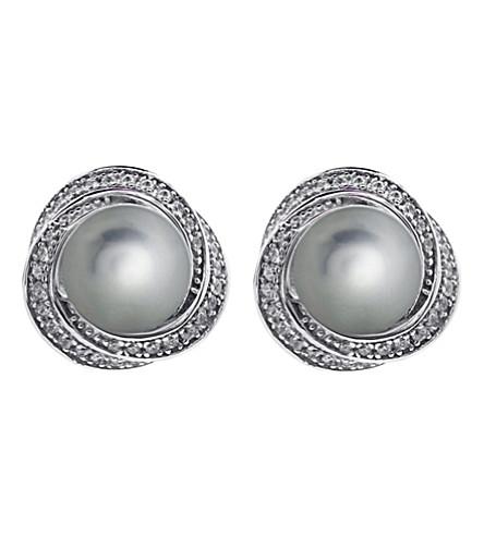 CARAT Power Pearl grey stud earrings (Green