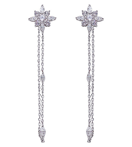 CARAT LONDON Camelia white-gold plated sterling silver earrings (Silver
