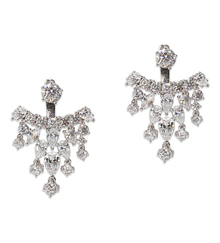 CARAT LONDON Tara white-gold plated sterling silver earrings (Silver