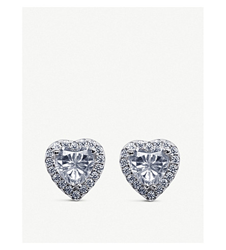 CARAT LONDON Cora white-gold plated and gemstone stud earrings (Silver