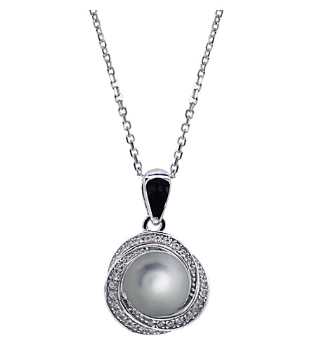 CARAT Power faux-pearl grey pendant (Green