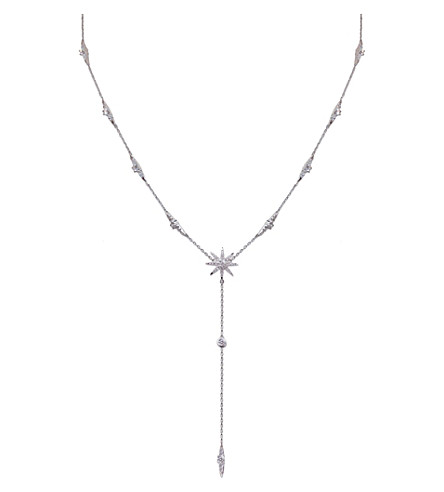 CARAT LONDON Mimosa white gold and sterling silver drop necklace