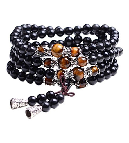 PSYCHIC SISTERS Jet and Tiger's Eye crystal mala beads