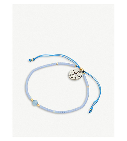 PSYCHIC SISTERS Wish gold-plated, silk chord and gemstone friendship bracelet
