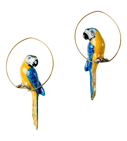 THE CONRAN SHOP Blue Parrot porcelain creole earrings