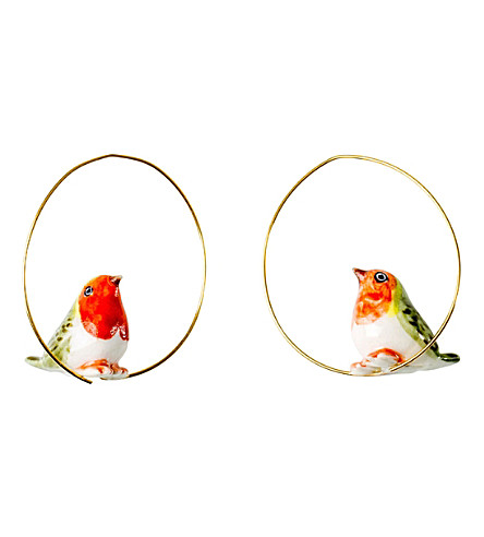 THE CONRAN SHOP Robin bird porcelain creole earrings small