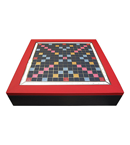 THE CONRAN SHOP Geoffrey Parker Scrabble leather board game (Red