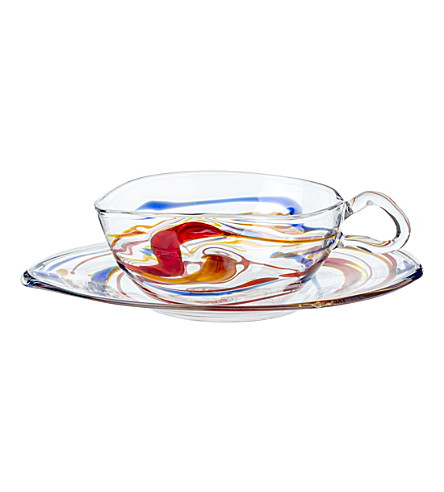 THE CONRAN SHOP Massimo Lunardon glass tea cup and saucer (Multi-coloured