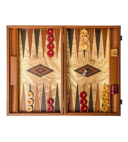 THE CONRAN SHOP Olive burl backgammon set