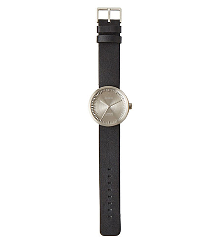 THE CONRAN SHOP Steel and leather Tube Watch D42