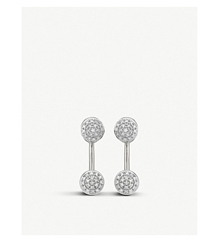 MONICA VINADER Fiji mini button diamond and silver jacket earrings