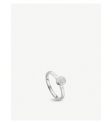 MONICA VINADER Fiji silver and diamond mini button stacking ring