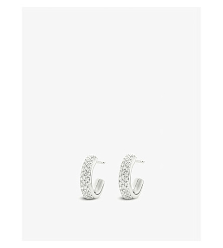 MONICA VINADER Fiji mini hoop silver and diamond earrings