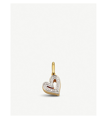 MONICA VINADER Alphabet 18ct gold and diamond heart pendant