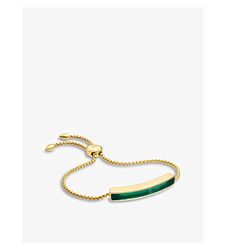 MONICA VINADER Baja 18ct gold-plated vermeil and green onyx bracelet